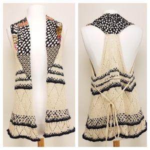 MOTH Anthropologie Open Front Knit Vest S/M
